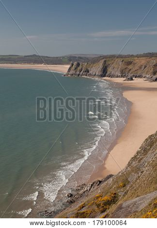 Three Cliffs Bay, The Great Tor and Oxwich bay on the Gower peninsula, Swansea.
