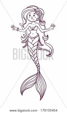 Cute doodle sea mermaid. Vector hand drawn girl mermaid. Black and white colors. Isolated. Coloring page for children and adult.