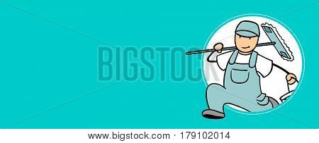 Cartoon character of janitor as cleaning service panorama background