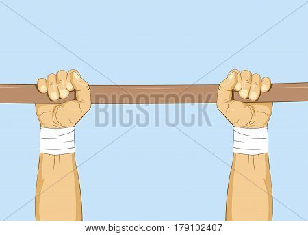 Hands on bar. Gymnastic pull up exercise. Calisthenic training. Vector illustration