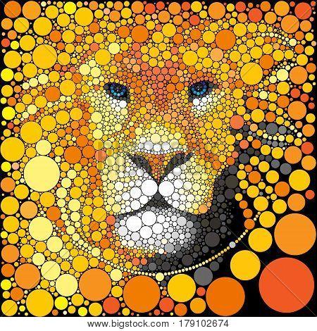 Lion mane illustration. Vector predator abstract portrait.