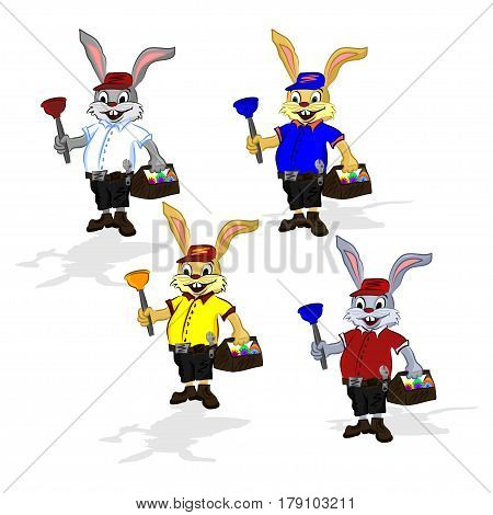 Easter cheerful rabbit plumber. Vector illustration of a rabbit in a shirt and shorts that in one hand holds a plunger and in the second hand he holds a suitcase for tool with Easter eggs.
