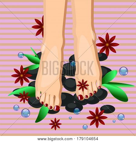 Vector illustration of women feet at pedicure procedure
