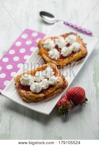 strawberry pastry with fresh cream, selective focus