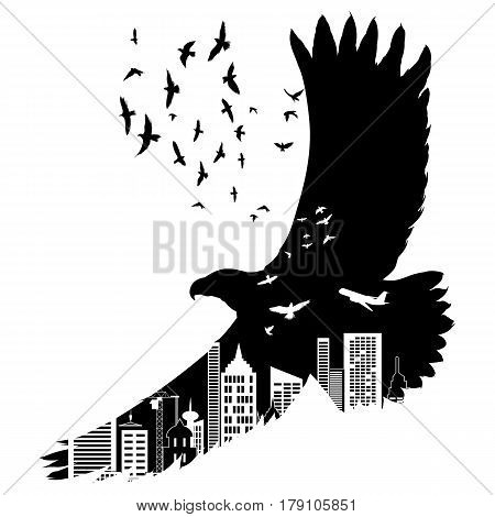 Vector silhouette flying eagle with double exposure effect. Urban city as background.