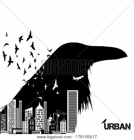 Isolated raven head silhouettes with double exposure effect. Urban city as background.