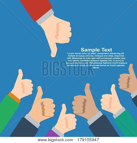Businessmans hands hold thumbs up vs one hold thumbs down. Vector illustration in flat design on blue background. Financials, work motivation.
