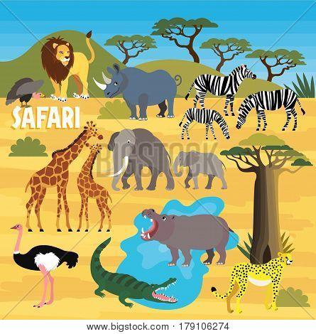 Africa Safari Animal Set. Cartoon Animal Map