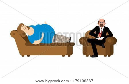 Fat woman at psychologist reception. Consultation of psychotherapist.