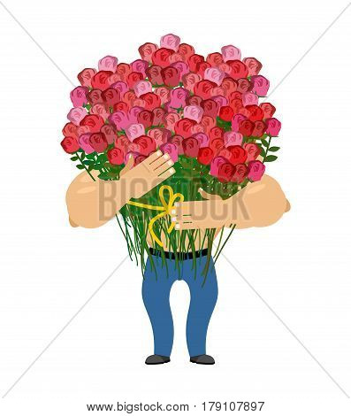 Man And Big Bouquet Of Roses. Guy Congratulates. Universal Greeting For Women. Give Flowers