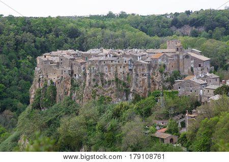 Panorama of the village of Calcata nel Lazio in Italy