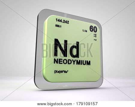neodymium - Nd - chemical element periodic table 3d render