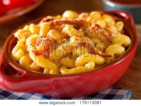 A bowl of delicious home made lobster mac and cheese.