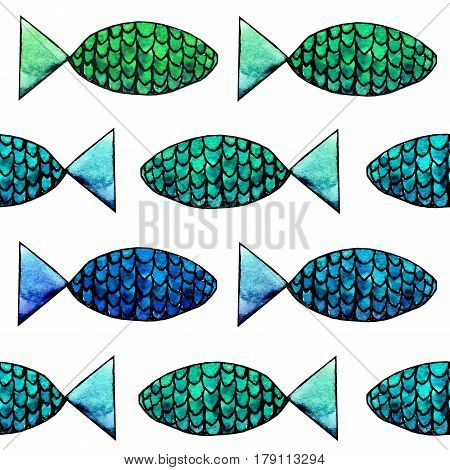 Hand drawn abstract watercolor and ink fish pattern on the white background