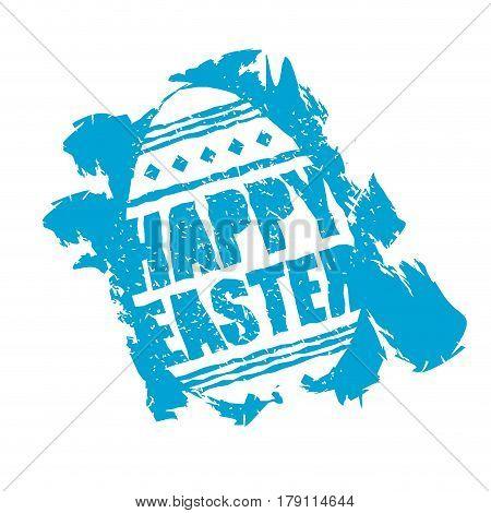 Happy Easter Emblem. Egg Symbol Religion Holiday. Grunge Style. Brush And Splashes.