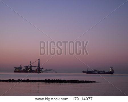The pre-dawn, the Mediterranean, sea, ships, morning, Aurora,