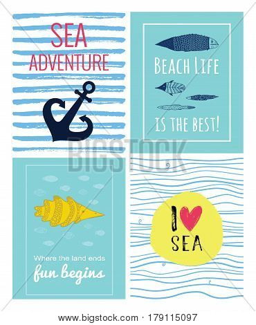 A set of cute sea vector card. Inspirations posters with a fish anchor hand drawn I love you lettering and heart. Beach life is the best. Sea adventure. Where the land ends life begins quote.