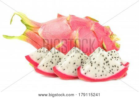 Dragon fruit on a white background. Clipping path