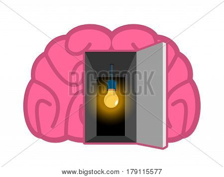 Brain With Light Bulb Open Door. Concept Of Mind Illumination. Psychology Illustration