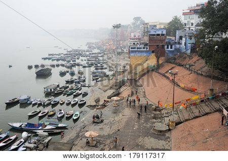 People Walking On The Ghats Of River Ganges