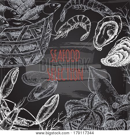 Vintage fish market template with fish and seafood baskets, shrimps, lobster, oysters on blackboard background. Great for markets, grocery stores, organic shops, food label design.