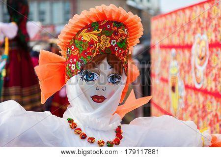 SAMARA RUSSIA - FEBRUARY 26 2017: Shrovetide in Russia. Big doll for the burning during the folk festival Maslenitsa or Pancake Week