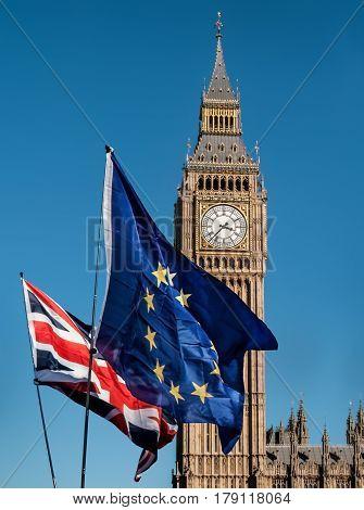 European Union flag in front of the Big Ben, Brexit EU