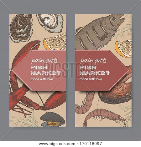 Set of two color fish market label templates with fish, lobster and seafood on black background. Includes hand drawn elements.