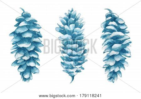Watercolor cones set in isolated on white background. Cones hand painted illustration.