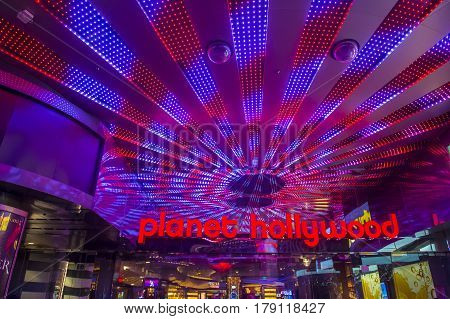 LAS VEGAS - NOV 24 : Planet Hollywood Resort and Casino in Las Vegas on November 24 2016. Planet Hollywood has over 2500 rooms available and it located on Las Vegas Boulevard.