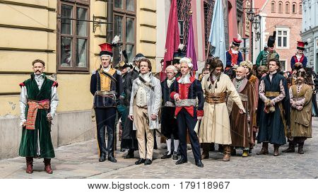 KRAKOW, POLAND - MARCH 25, 2017: Actors and extras perform Tadeusz Kosciuszko's vow that launched the Insurrection in 1794, a national uprising considered the last attempt to rescue the First Republic.