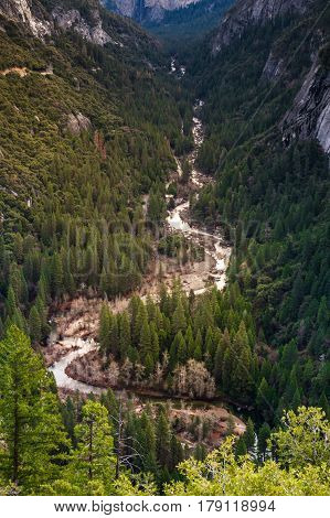 Yosemite Valley with Merced River S curved