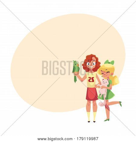 Two girls with pets - fluffy cat, kitten and green parrot, cartoon vector illustration with place for text. Full length portrait of two girls holding fluffy cat, kitten and green parrot