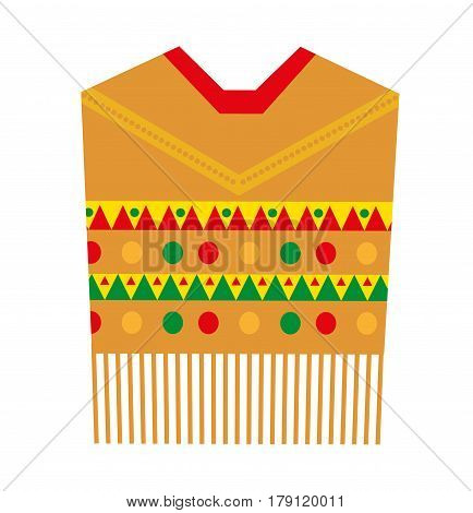 Poncho icon, flat style. Mexican traditional clothing. Isolated on white background. Vector illustration, clip-art