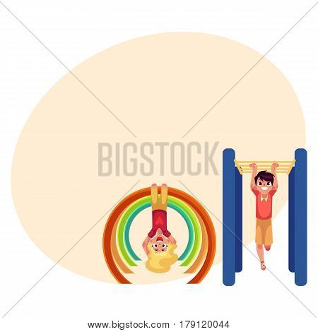 Teenage boy and girl climbing, hanging on monkey bars at playground, cartoon vector illustration with place for text. Kids, boy and girl hanging on monkey bars, having fun at playground