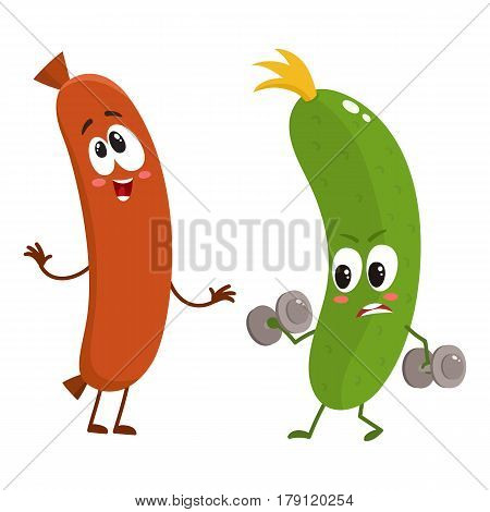 Funny food characters, zuccini versus sausage, healthy lifestyle concept, cartoon vector illustration isolated on white background. Zuccini doing fitness and laughing sausage characters, mascots