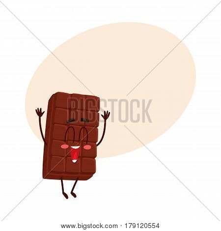 Cute chocolate bar character with funny face jumping from happiness with eyes closed, cartoon vector illustration with place for text. Happy, excited chocolate character, mascot, emoticon