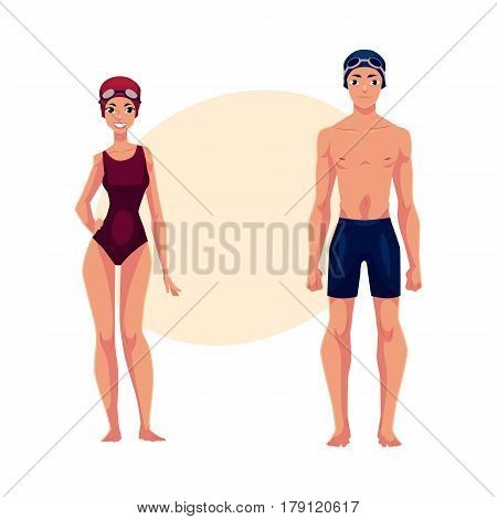 Couple of swimmers, man and woman, in swimming suits, caps , cartoon vector illustration with place for text. Full length portrait of male and female swimmers in swimming suits