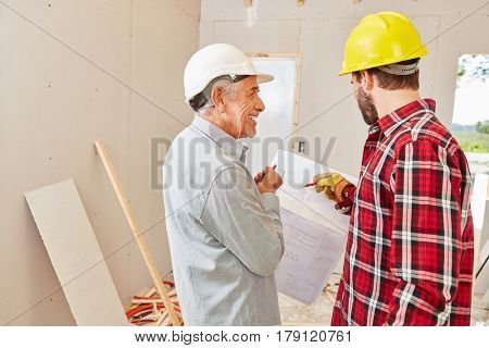 Craftsmen during house renovation and reconstruction