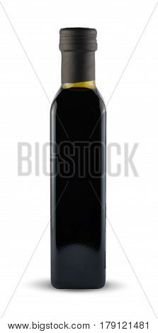 Black bottle with balsamic sauce isolated on white background with clipping path