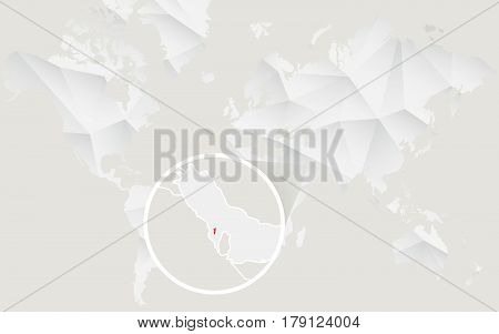 Bahrain Map With Flag In Contour On White Polygonal World Map.