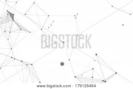 Abstract Polygonal Space White Background with Grey Low Poly Connecting Dots and Lines - Connection Structure - Futuristic HUD Background