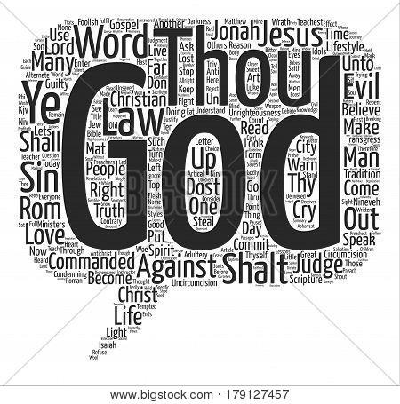 Thou Shalt Not text background wordcloud concept
