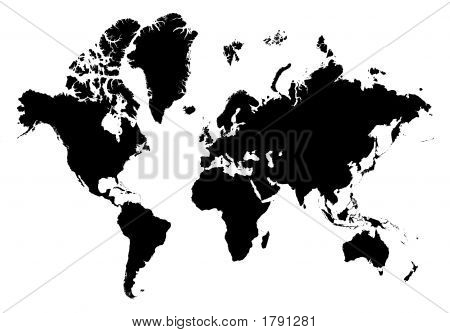 Detailed B/W Map Of The World