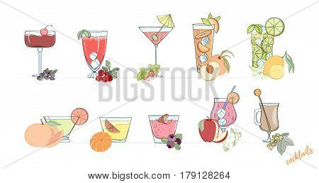 Set of popular alcohol cocktail. Margarita, Mai Tai Caipirinha, Screwdriver Whiskey Sour Old Fashioned Manhatten Martini Daiquiri Cosmopolitan Singapore Sling, Mojito Pina Colada Cuba Libre