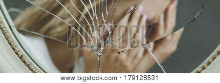 Fuzzy reflection of a broken mirror, panoramic