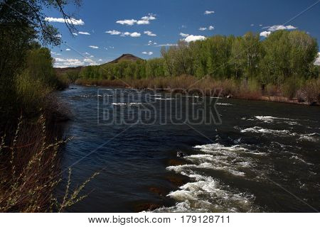 Rio Grande River flows through the San Luis Valley near Alamosa, Colorado