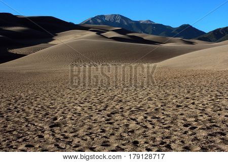 Wind blown ripples on the sands of the Great Sand Dunes National Park near Alamosa, Colorado in springtime