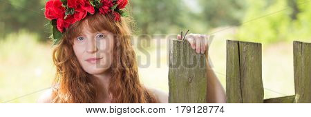 Woman With A Red Wreath