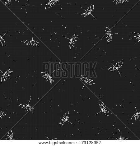 Dandelion seamless pattern. White hand drawn flying dandelion seeds on dark background